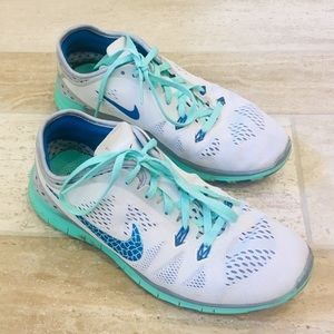White and Mint Nike Free Running Sneakers